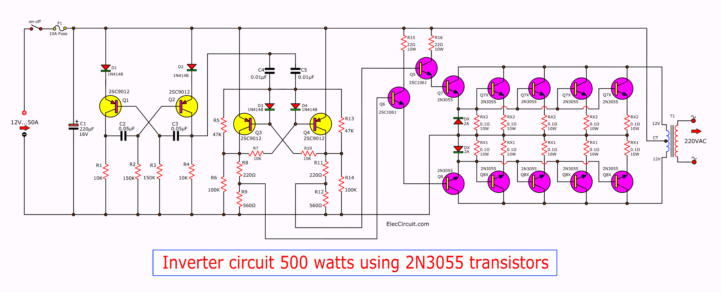 Inverter circuit, 12 Volt to 220 Volt at 500W - ElecCircuit.com