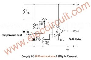Simple temperature sensor diode 1N4148
