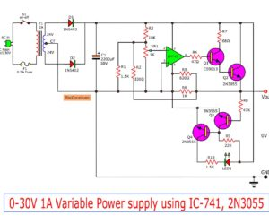 Simple Variable power supply circuit using IC-741 and 2N3055