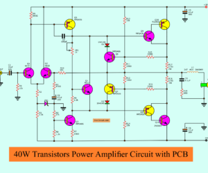 40W transistor audio amplifier circuit with PCB