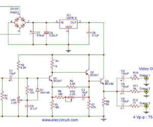Video amplifier splitter using transistor