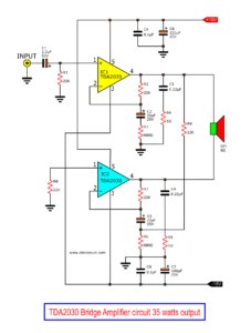 TDA2030 Bridge Amplifier circuit diagram 35W output