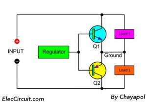 bloock diagram of power supply splitter circuit