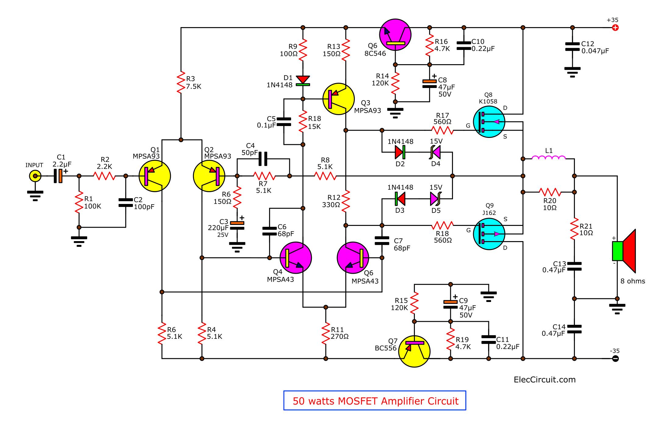 Ключевыми радиодеталями в схеме усилителя являются два MOSFET транзистора: 2SK1058 (N-канальный) и 2SJ162...