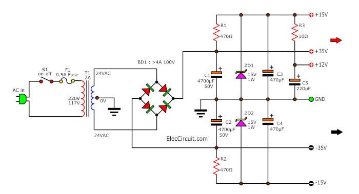 Simple Fixed regulator,12V, 15V, 30V using Zener diode