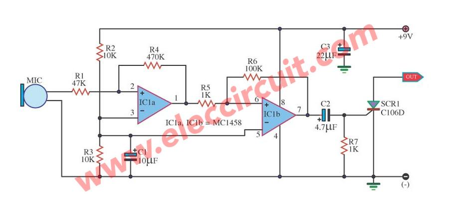 Sound Switch Circuit Using Ic 1458 Scr C106d