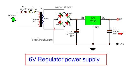 5v,6v,9v,10v,12v 1a regulators using 78xx series eleccircuit com7806