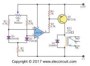 Simple Differential temperature controller circuit diagram
