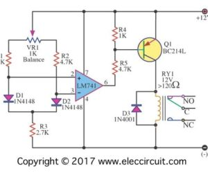 Simple Differential temperature controller circuit diagram