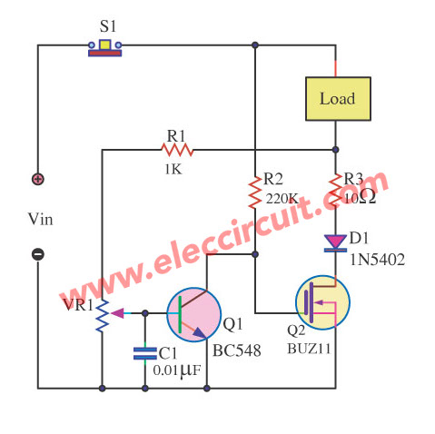 fet overload current protection eleccircuit com rh eleccircuit com overload relay circuit diagram ups overload circuit diagram
