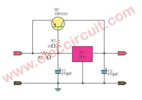 Current booster circuit for 7805 using MJ2955