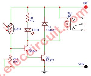 The Circuit diagram of Light Relay Switch By BC547 and BC337