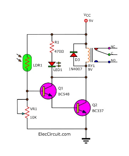 Light activated relay circuit using BC547 BC337