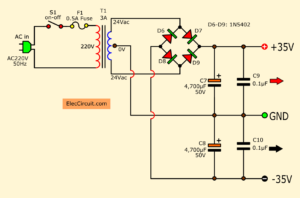 35V Dual power supply for amplifier