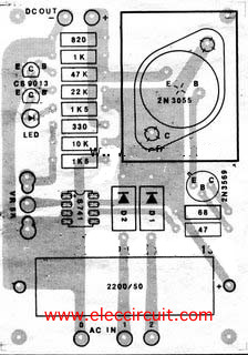 PCB layout of Variable power supply using IC-741,2N3055, and 2N3565