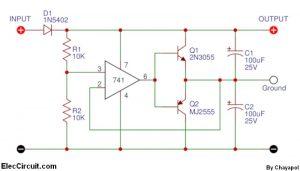 Power Supply Splitter circuit using op-amp