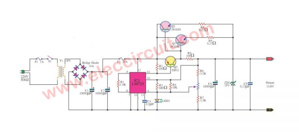 12V 10A regulated power supply circuit with PCB ...