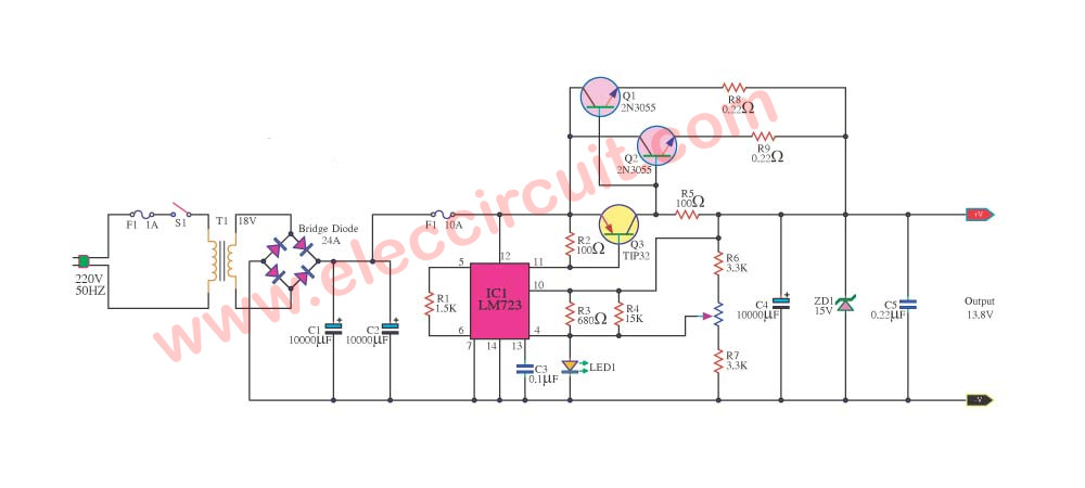 12v 10a regulated power supply circuit with pcb eleccircuit com rh eleccircuit com