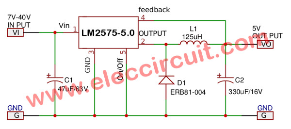LM2575 Simple switcher 1A step down voltage regulator