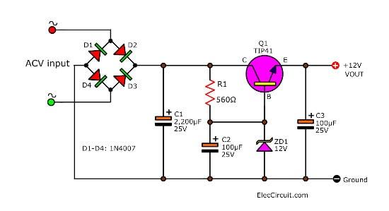 Simple Zener diode voltage regulator circuits
