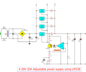 0-30V 20A High current adjustable voltage regulator circuit