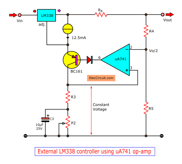 External LM338 controls using uA741 op-amp