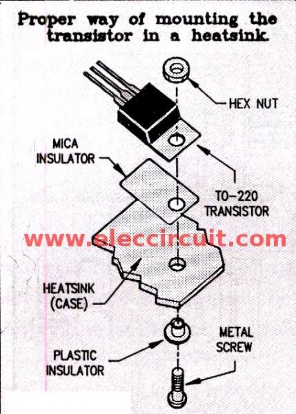 Mountiong the transistor on heatsink