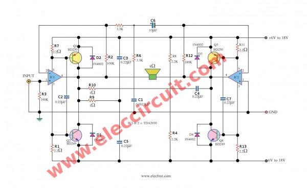 tda2030 subwoofer amplifier circuit eleccircuit com