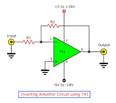 simple lm741 circuits eleccircuit cominverting amplifier by ic lm741