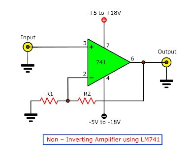 Non - Inverting Amplifier by IC LM741
