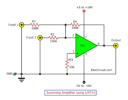 Summing  Amplifier by LM741