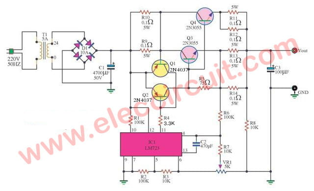 circuit power supply regulator 0 30v 5a by lm723 ca3140dc power supply 0 30v 5a adjustable regulator eleccircuit