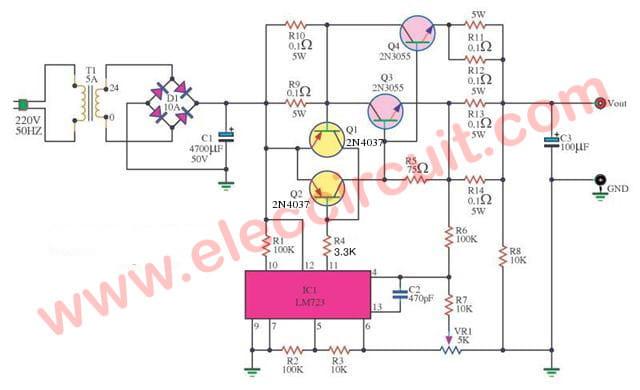 Regulator 0-30V 5A by IC 723 & 2N3055 -2part
