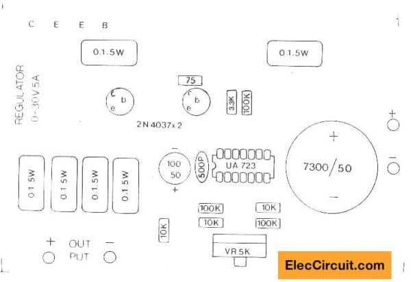 Components layout of 0-30V 5A regulator using LM723 2N3055