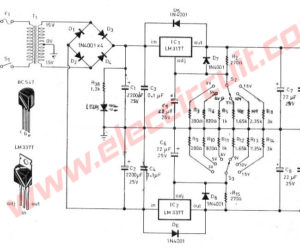 Dual Regulated Power Supply 3V,5V,6V,9V,12,15V using LM317,LM337