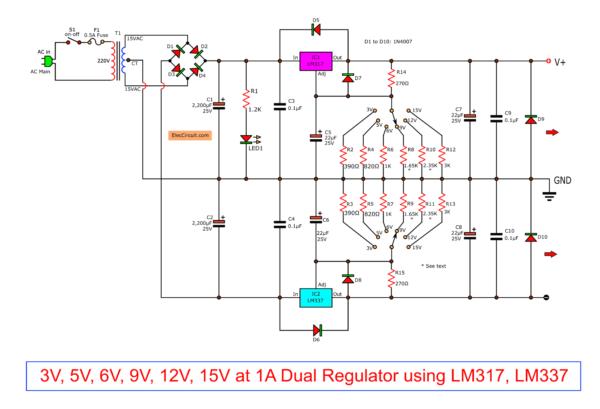 Dual Regulated Power Supply 3V,5V,6V,9V,12,15V using LM317,LM337