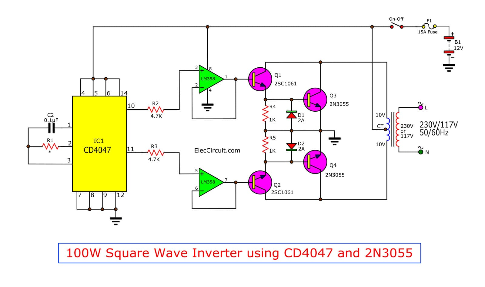 Four CD4047 Inverter circuit 60W-100W 12VDC to 220VAC
