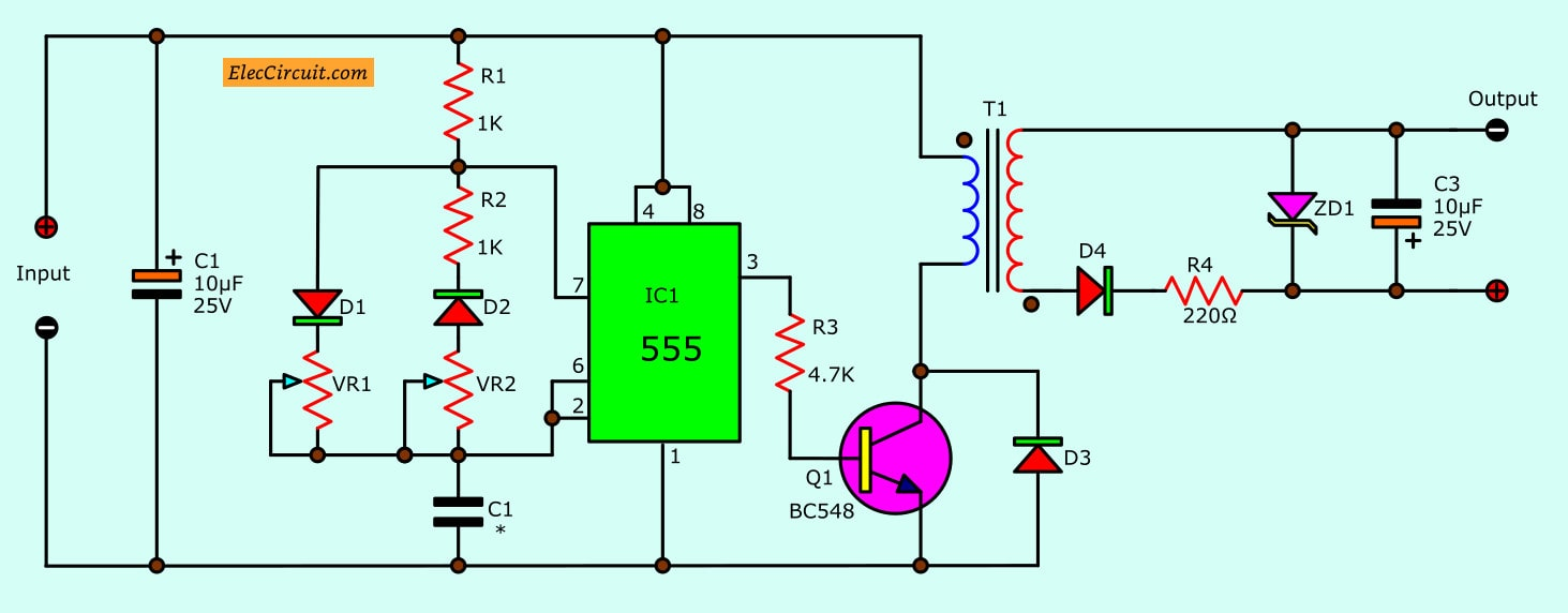 isolated dc converter for digital using 555 eleccircuit com555 dc converter circuit for digital