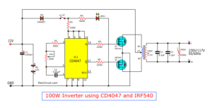 100W inverter using CD4047 IRF540