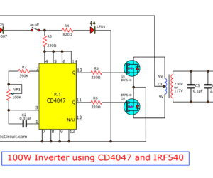 Four CD4047 Inverter circuits 60W-100W 12VDC to 220VAC