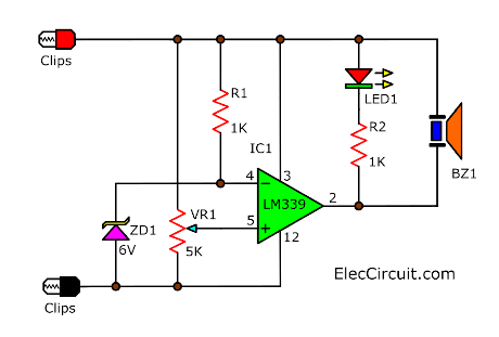 Battery voltage monitor circuit by LM339