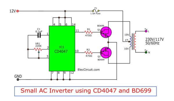 Small AC inverter using CD4047