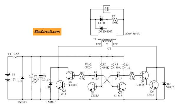 mini dc to ac converter using transistor