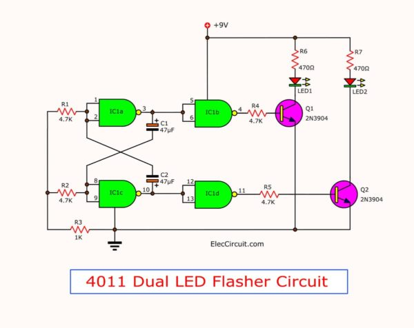 4011 Dual LED flasher