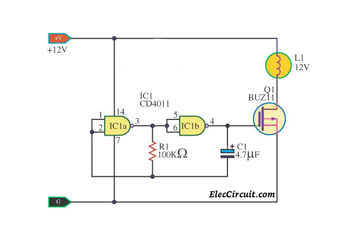 simple ic 4011 led flasher circuit