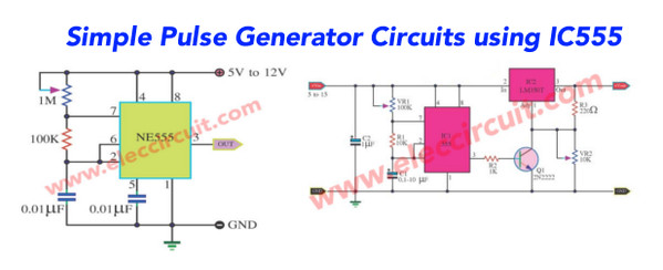 555 timer Pulse Generator circuits | astable mode