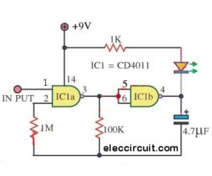 Simple IC-4011 LED flasher circuits