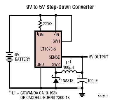5vdc Switching Regulator From 9v Battery By Lt1073 5