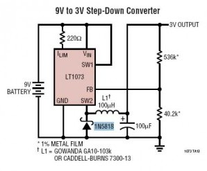 9V to 3V Step-Down Converter by LT1073