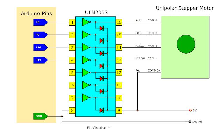 Arduino DC stepper motor driver circuit